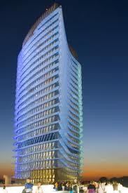 La Torre del Agua iluminada de noche
